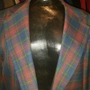 Vintage Workers of America Plaid Blazer Coat l46